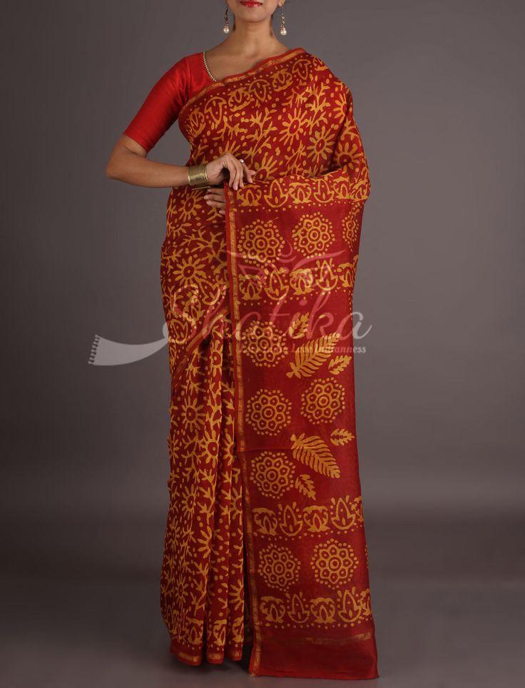 Samaira Brick Red With Yellow Flower Imprints Bagh Print Saree