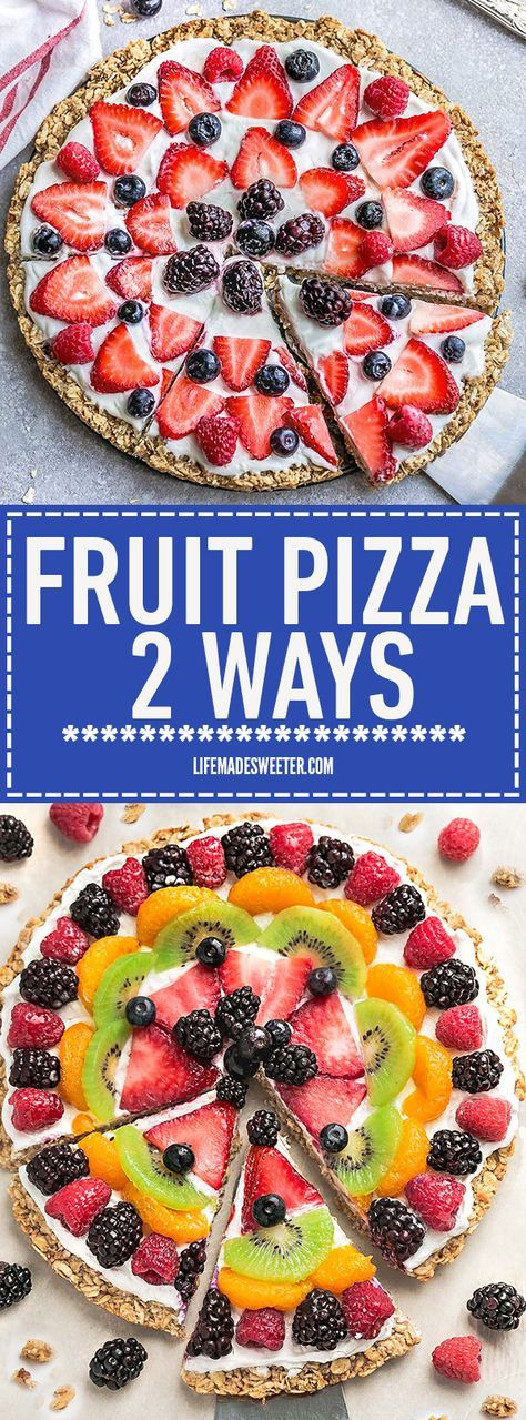 This Healthy Fruit Pizza can be decorated 2 Different Ways - Rainbow or Red White and Blue the perfect healthy and extra special breakfast, brunch or dessert. Best of all, it's so easy to make in less than 30 minutes with your favorite fresh fruit, a gluten free granola crust and Vanilla Greek yogurt. Perfect for Mother's Day, Memorial Day, Father's Day, Fourth of July, barbecues, potlucks or any other shower or party for spring and summer!