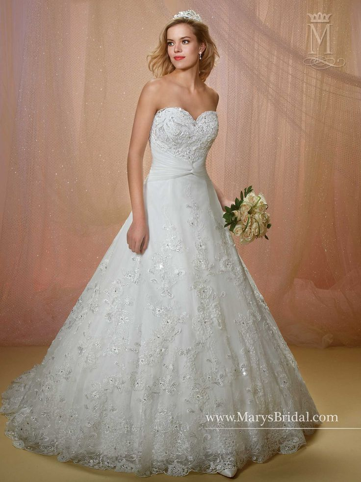 Strapless A-line bridal gown featuring sweetheart neck ...