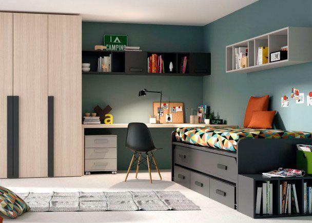 Dormitorio juvenil: Habitación juvenil con dos camas (nido) | Esta habitación cuenta con una cama nido con cajones, para ampliar el espacio y poder guardar todas
