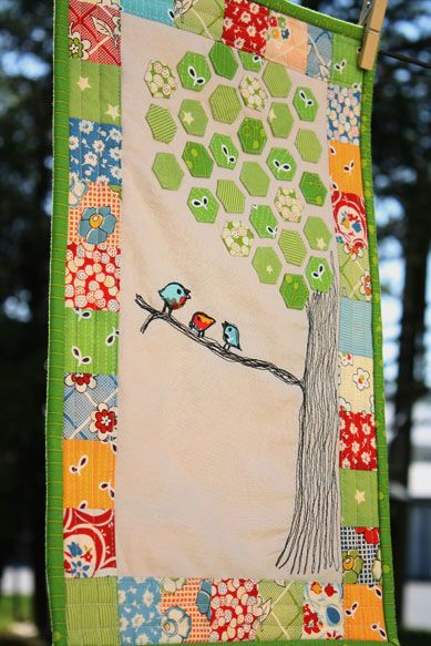 Love this mini quilt - hexies and thread sketching!: Trees Patterns, Ideas, Birds Hexagons Adorable, Baby Quilts, Little Birds, Hexagons Quilts, Hexagons Minis Quilts, Birds Quilts, Lttle Birds