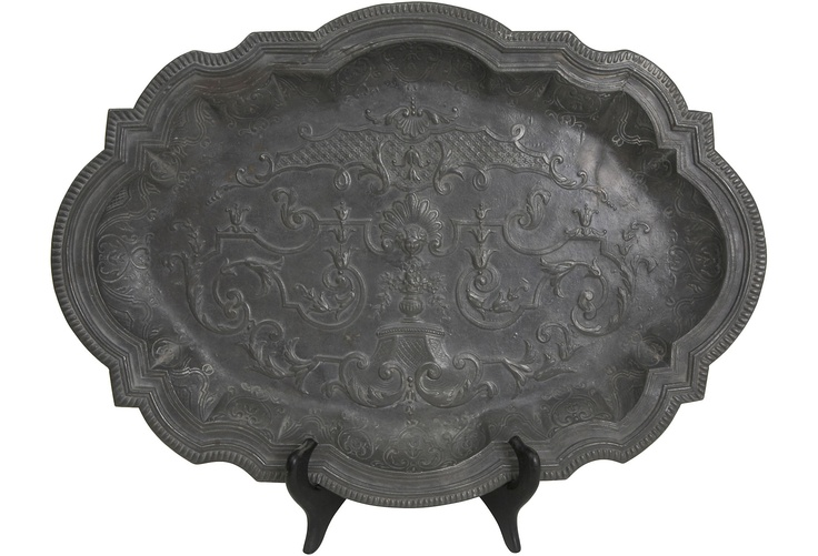 Antique Pewter Platters, Pair