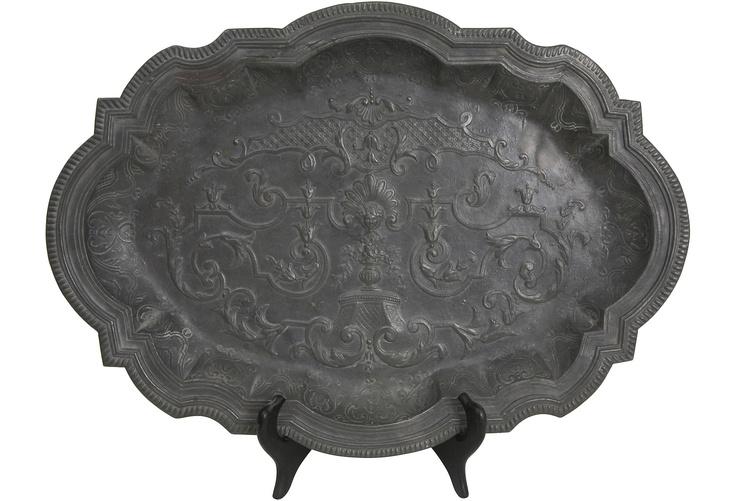 Antique Pewter Platters, Pair
