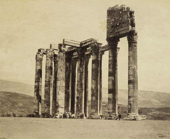 Temple of Jupiter Olympus [Temple of Olympian Zeus, Athens]  31 May 1862 View of the ruined colonnade, part of the Temple of Olympian Zeus, also known as the Olympieion, Athens. The photograph is signed, captioned and dated in the negative, 'F Bedford Athens', 31 May 1862. Acquired by the Prince of Wales (later King Edward VII), 1862.