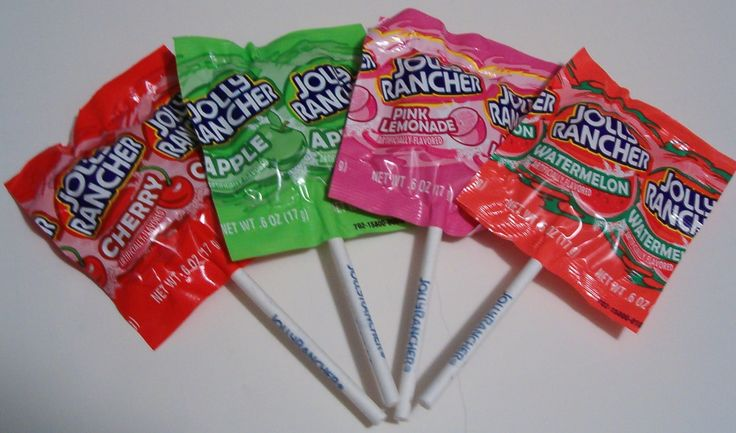 Square-Shaped Jolly Rancher Lollipops : nostalgia