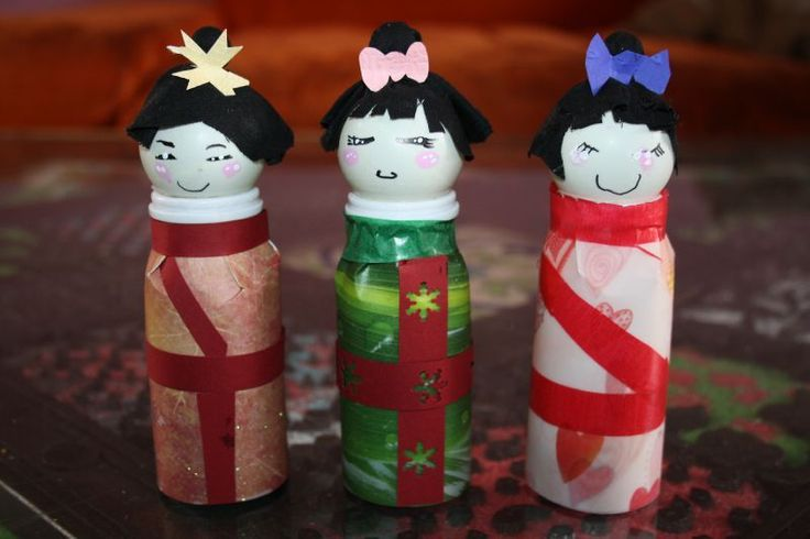 Japanese dolls from actimel pots