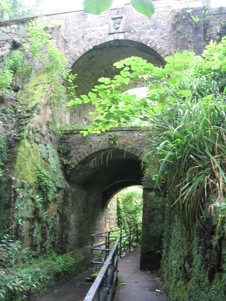 "Beautiful bridge in Pittencrieff Park Known as ""The Glen"" in Dunfermline, Fife, Scotland."