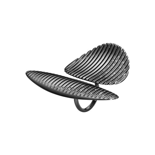 LAMELLAE twin ring - black rhodium plated sterling silver with black diamonds