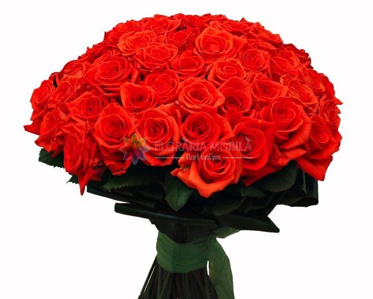 buchet din trandafiri rosii spectacular 71 red naraga roses for valentine's day - luxury collection