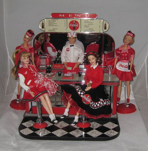 Mattel Barbie Coke Coca Cola Barbies Ken and Soda Fountain Display Awesome | eBay