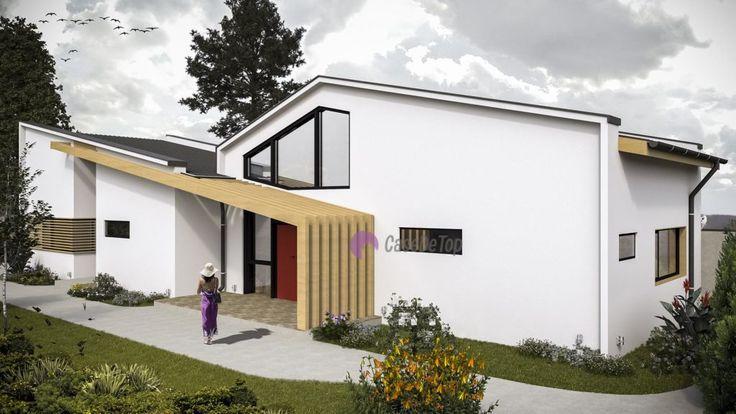 Casa moderna de dimensiuni medii, situata pe limita de proprietate, pe un teren ingust   Modern house 155.00 sq.m  