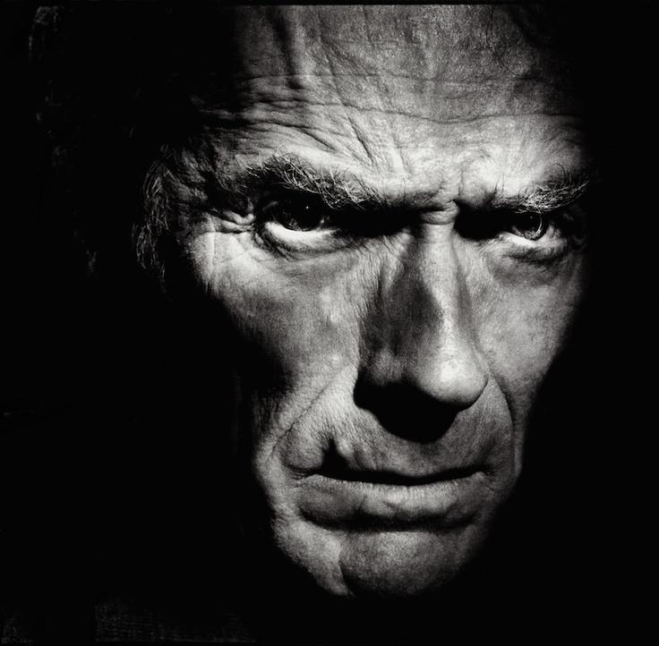 Stuunig portrait of Clint Eastwood by Alain Duplantier http://www.alainduplantier.com/Photographies/grand-1.html