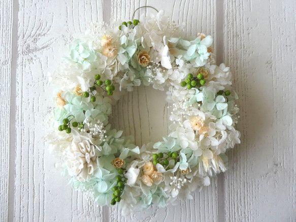 薫風さわやか アジサイのリース|フラワー・リース|hyacinth325|ハンドメイド通販・販売のCreema