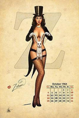 Nathan Szerdy SIGNED DC Comics JLA Art Pinup Print ~ Zatanna Calendar Girl