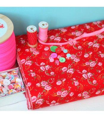 Coton Petite Pivoine rouge - Petit Pan - vivre en multicolore