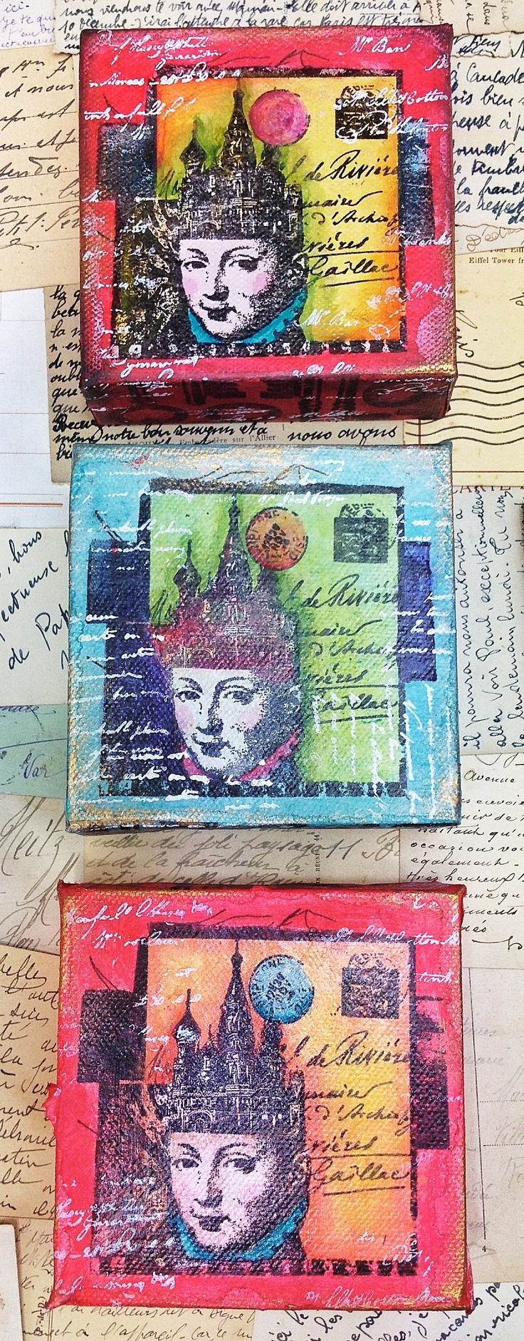 Now in Triplicate. Lynne Perrella Stamps on Crackly Tissue coloured with Fresco Finish Chalk Acrylics mounted to a PaperArtsy 4x4 Deep Canvas.