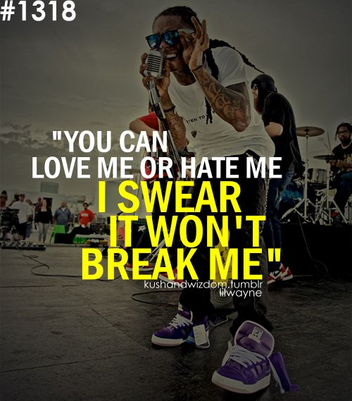 """You can love me or hate me, I swear it won't break me"" - lil Wayne. Thanks for the inspiration Weezy."