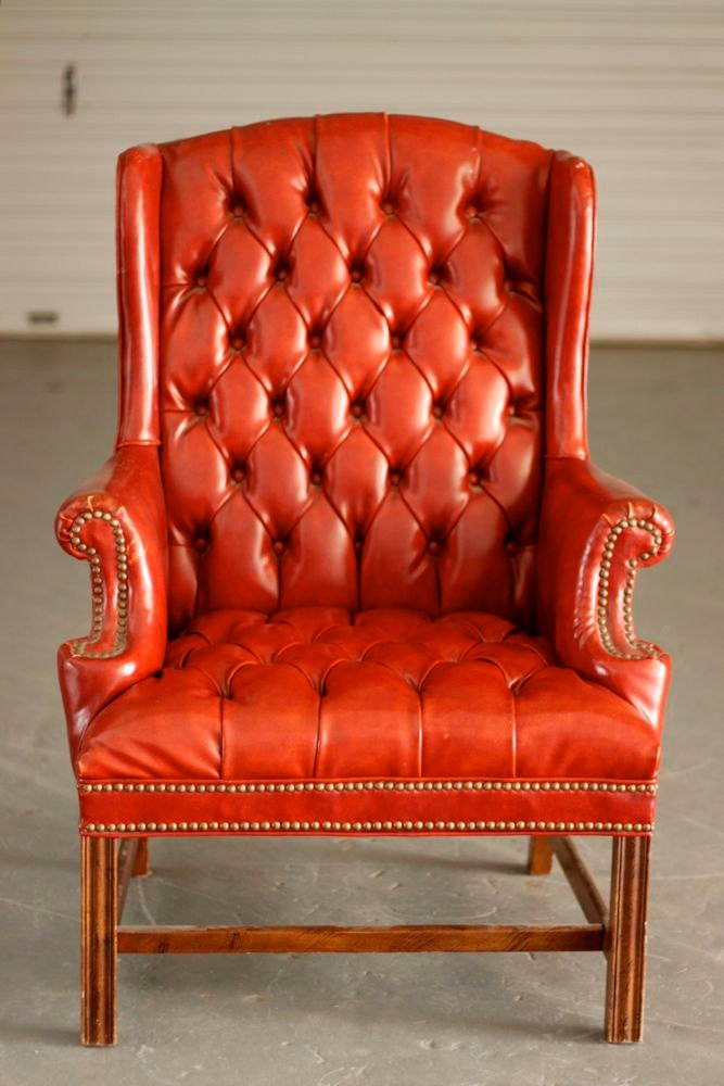Delightful Reserved Tufted Burnt Orange Vinyl Vintage Executive Wing Chair |  Apartments, Living Rooms And Room