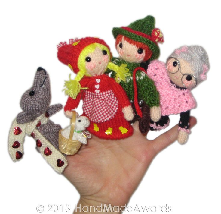 Knitting Pattern For Little Red Riding Hood Doll : LITTLE Red Riding Hood Finger Puppets PDF Email knit ...