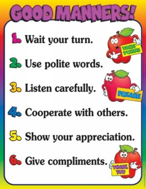 Good Manners Friendly Chart   Reproducibles on the Reserve Side!   NestLearning.com