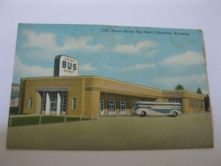 Vintage 1940s Union Pacific Bus Depot Postcard Cheyenne Road Trip USA Rail