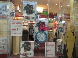 Dymocks in Camberwell are cheerfully displaying #TheBoneClocks posters and  bird ornaments in their windows!