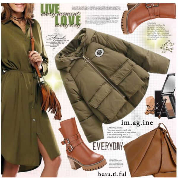 Shirt Dress for Winter by katjuncica on Polyvore featuring shirtdress, ankleboots, winterfashion, pufferjacket and trianglebag