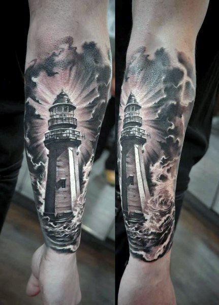 Firearm Lighthouse Cloud Tattoos For Men   tatuajes | Spanish tatuajes  |tatuajes para mujeres | tatuajes para hombres  | diseños de tatuajes http://amzn.to/28PQlav