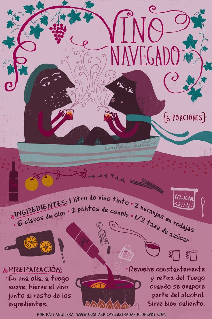 VINO NAVEGADO RECIPE #Infographic #Chile #Spanish #Food