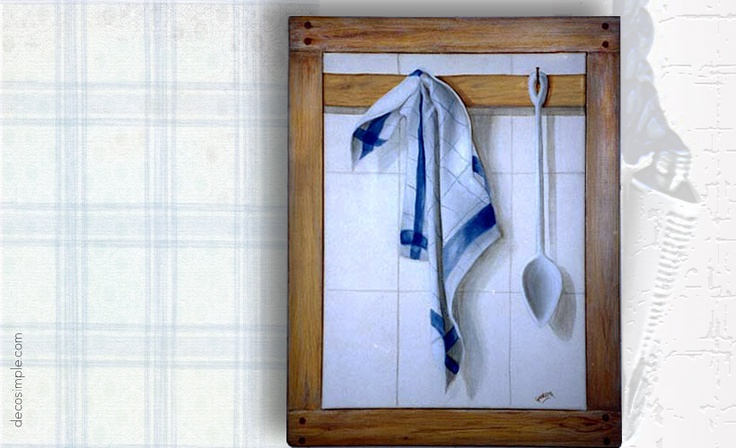Spoon and dishcloth trompe-l'oeil