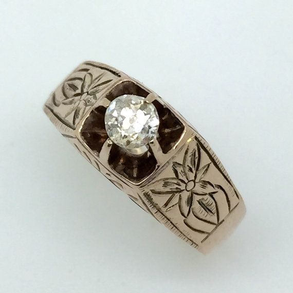 Victorian Old European Cut Diamond Ring in 10K Engraved Rosy Gold - Solitaire Engagement Ring