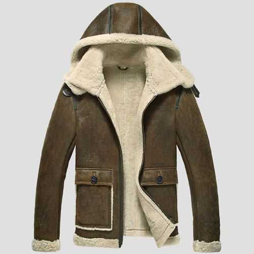 Chocolate Brown Leather Fur Hooded Winter Warm Dress Coats