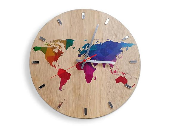 Large  Wall clock  OAK  13 in  World Map Wall Clock   Wood