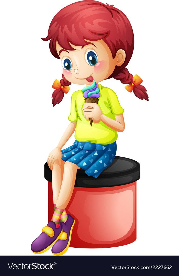 A Cute Little Girl Eating Icecream On A White Background Download A Free Preview Or High Quality Adobe Il Cute Little Girls Art Drawings For Kids Little Girls