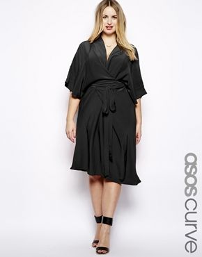 ASOS CURVE Midi Dress With Obi Belt  Plus size fashion Thick curve curvy sexy girl Bbw plump chubby