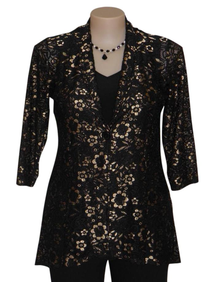 The Glory lace Jacket is a real eye catcher in a stunning black and gold stretch Lace. Available in sizes 10-22.