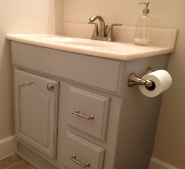 Furniture Outstanding Small Corner Vanity Units Bathroom With Integrated Sink Tops And Satin Nickel Faucet On