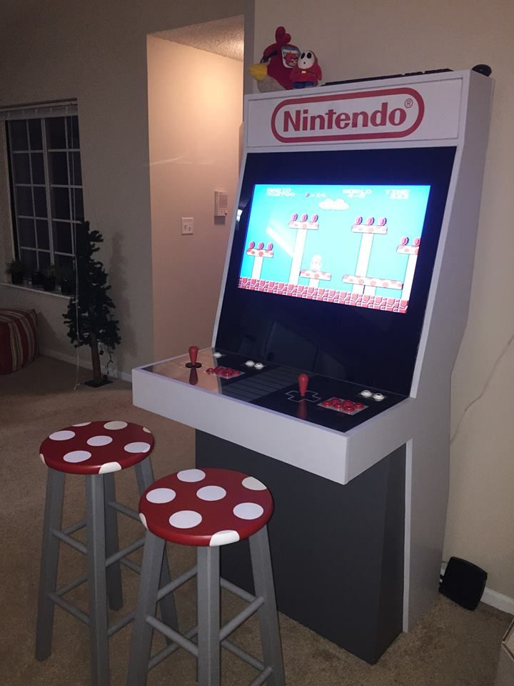 Custom Nintendo NES Style MAME Arcade Cabinet with custom Toad Stool seating via Reddit user BRose7230