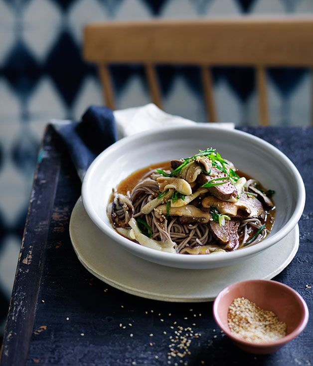 Fast recipe for soba noodles with miso flank steak, soy and mushrooms.