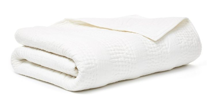 Guy's Bedroom - $150 - true white quilt for bed  An ultra-soft and cozy addition to the bed, this hand-stitched, cotton-filled quilt is crafted of cotton voile with tonal seed-stitch details.Exclusively One Kings Lane's and crafted with a few...