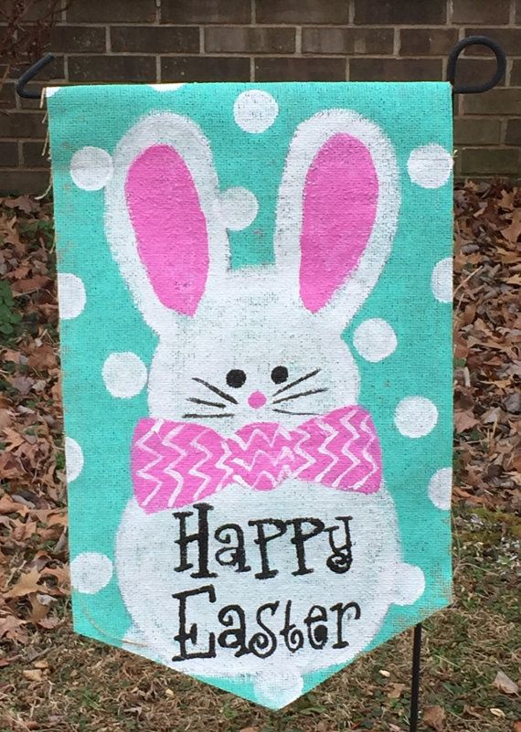 Happy Easter Burlap Garden Flag Bunny Rabbit Yard Decor made for the outdoors. Pole NOT included. Fits standard yard flag pole .