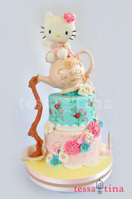 Hello Kitty Shabby Chic Cake - by tessatinacakes @ CakesDecor.com - cake decorating website