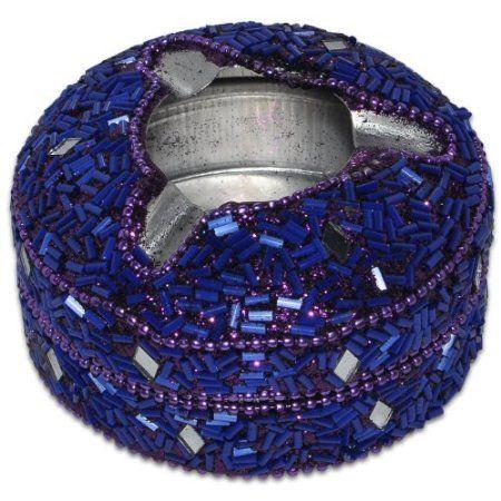 Purple Aluminium Beaded Ashtray from India