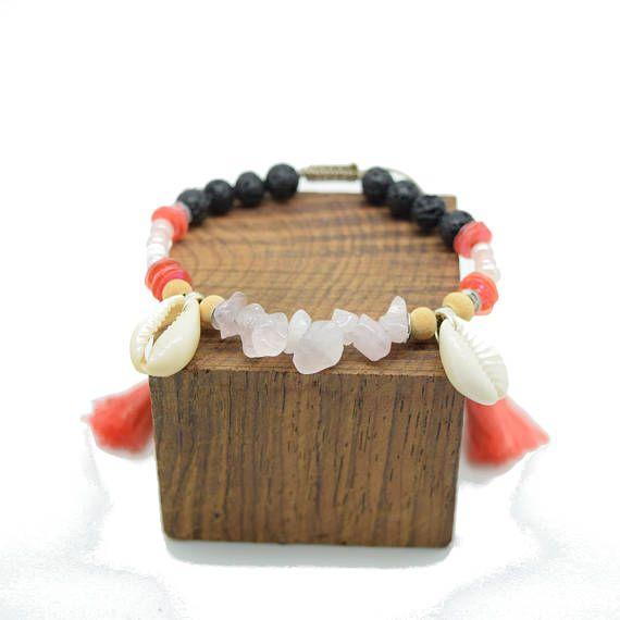 Tribal bracelet - ethnic chic - pearls - shell - coral - quartz - pompons