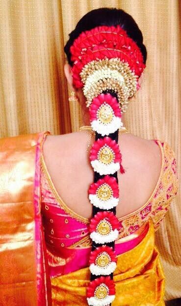 Traditional Southern Indian bride's bridal braid hair. Hairstyle by Swank Studio. #SilkSaree #Blouse #Design #HairAccessory  Find us at https://www.facebook.com/SwankStudioBangalore