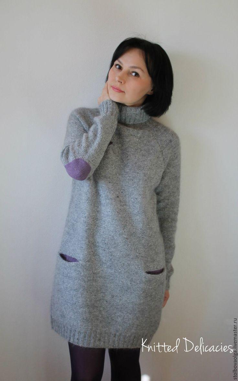 """Купить Платье - свитер """" Birdie """" - серый, однотонный, платье теплое, платье вязаное"""
