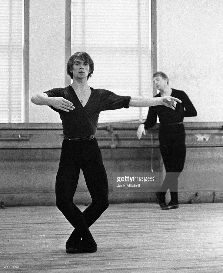 Rudolf Nureyev and Erik Bruhn practice together at American Ballet Theatre rehearsal space, January 20, 1965.
