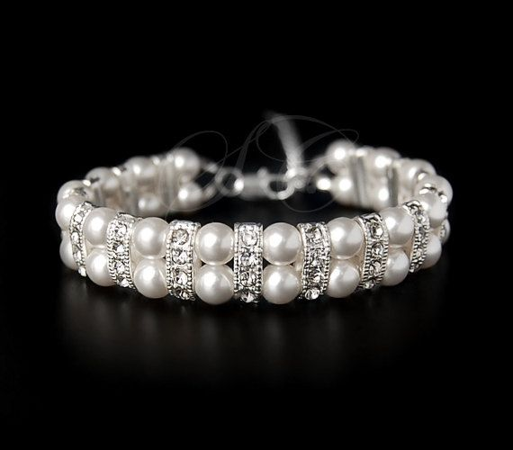 Bridal Pearl Bracelet Wedding Jewelry Wedding Cuff Bracelet Swarovski Pearls Cubic Zirconia Bling FREE SHIPPING on Etsy, $33.00