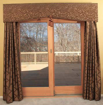 patio door cornice and drapery - Curtains For Sliding Doors