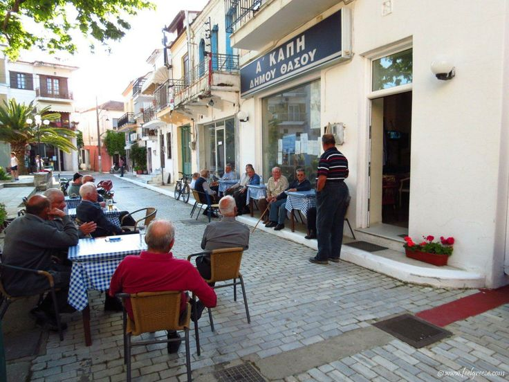 Old men`s talk  Limenas - the liveliest resort on Thassos with old town